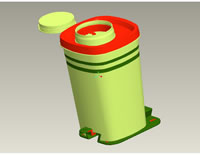 Jar Cover Inner Cover Lock 3D Profile Drawing